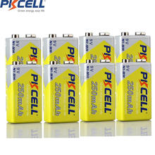 8pcs/lot PKCELL 250mah 9v nimh Rechargeable 9 Volt Battery In bulk for wireless microphone ,toy ,mike,Multimeter(China)