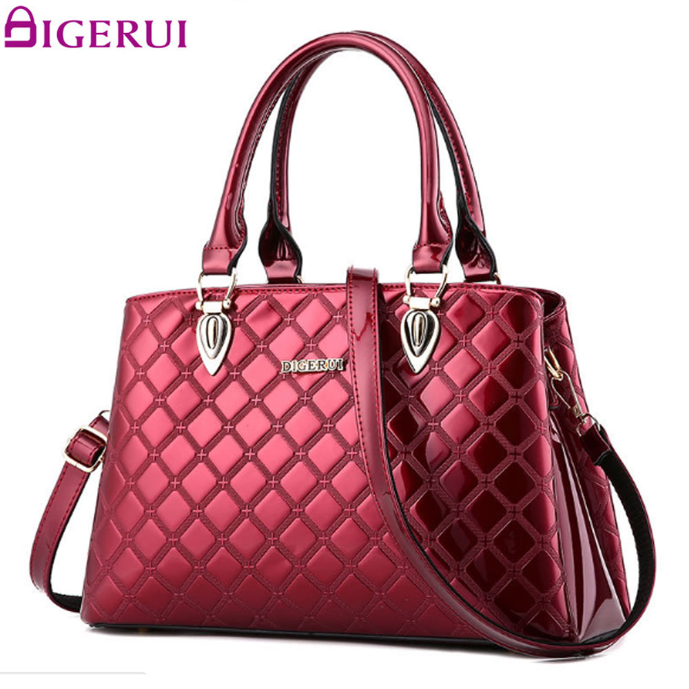 DIGERUI Luxury Handbags Patent Leather Large Capacity Ladies Shoulder Bags Casual Hand Bag For Mother Bag A569/ZZ<br>