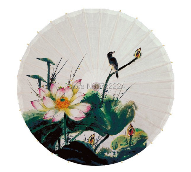 Free shipping chinese handmade ink lotus and bird painting fabric adult parasol waterproof dance decoration oiled paper umbrella<br>