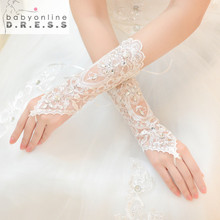 2017 Hot Cheap White Ivory Fingerless Rhinestone Lace Sequins Short Bridal Wedding Gloves  Wedding Accessories
