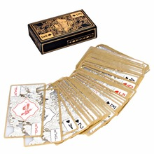 Waterproof Transparent PVC Poker Gold-plated Gold Foil Plastic Playing Cards Dragon Totem Card Novelty Magic Trick T28(China)