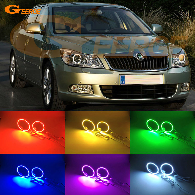For SKODA OCTAVIA MK2 A5 FL 2009 2010 2011 2012 Excellent Angel Eyes Multi-Color Ultra bright RGB LED angel eyes kit Halo Rings<br>