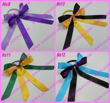 free shipping 1000pcs mix color Pony O Hair Bow Ponytail Streamers ponytail holder bows
