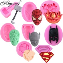 Superman Logo Spiderman Batman Film Character Molds Silicone Cake Mold DIY Chocolate Candy Moulds Fondant Cake Decorating Tools(China)