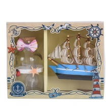 Mediterranean Sailing Boat & Blinking Wishing Bottle With lights For Home Hotel Showcase Decoration Fashion Gifts(China)