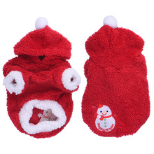 Pet Dog Clothes Dog Christmas Snowman Coat Coral Velvet Fleece Festival Decorated Apparel Clothing with Cap Free Shipping