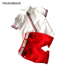 2016 New Design Boys Summer Ripped Holes Shorts Clothing Set Brand Designer Boys Dress Shirts & T-Shirts Shorts Summer Set, C194