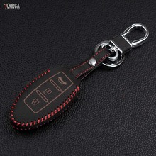 Special offer top layer Leather remote control car keychain key cover Case for Nissan Tidda Livida X-Trail T31 T32 3 buttons(China)