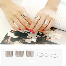 6Pcs/set Simple Design Metal Silver Polished Surface Simple Wide Joints Opening Rings Set #52577