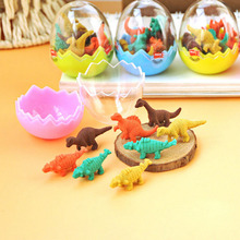 8PCS School Drawing Erase Supplies Stationery Educational Gift Animal Cartoon Dinosaur Egg Rubber Eraser Kids Kawaii Toys Gifts