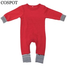 COSPOT Baby Boys Girls Christmas Rompers Newborn Spring Winter Plain Color Pajamas Kids RedBlack Yellow Jumpsuit 2017 New 25F(China)
