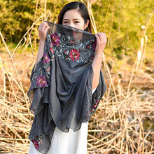 Spring,summer 2017 cotton and linen scarf  Chinese embroidery art shawl  Multi-functional shawl  Embroidered scarves