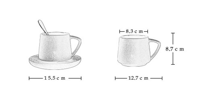 dimensions de la tasse en céramique avec couvercle