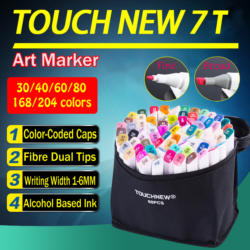 TOUCHNEW T7 Twin art markers 60 80 168 Set Colors Alcohol Graphic Drawing Dual Tip Sketch Marker Pens Hand Painted Design Draft<br>