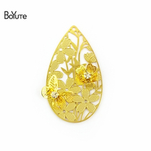 BoYuTe 10Pcs 45*27MM Brass Filigree Water Drop Flower Charm 5 Colors Diy Etched Sheet Pendant Charms for Jewelry Making