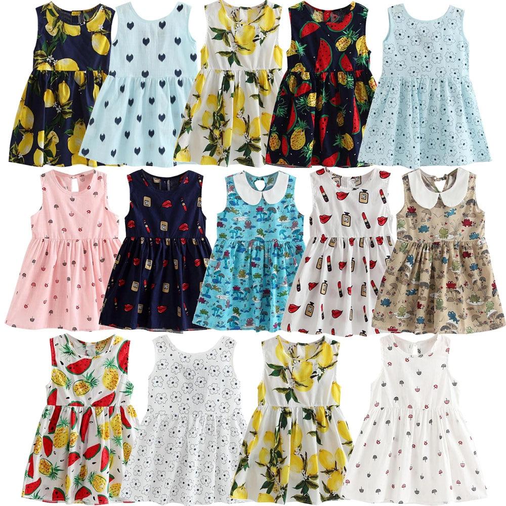 Baby infant summer girls cotton sleeveless dress holiday daily cute dress fruit