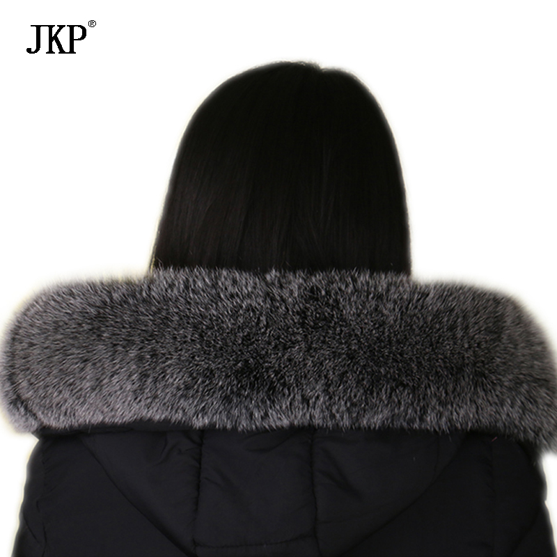 Winter Real fox fur collar Black frost color Genuine oversized fur collar Scarf(China)