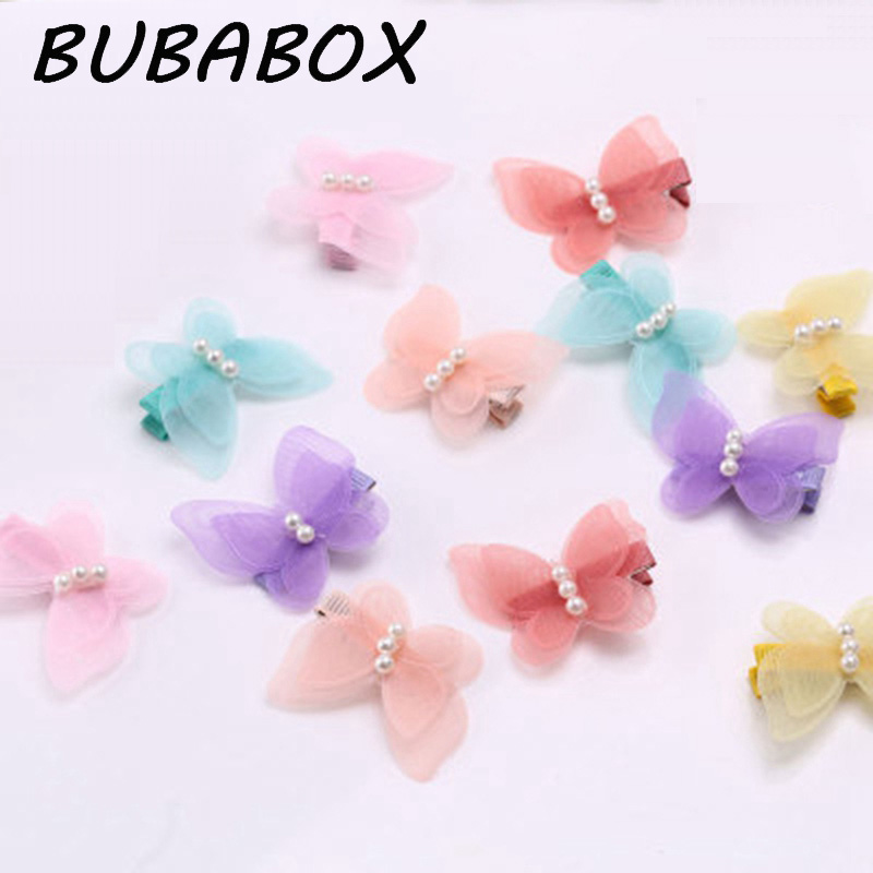 Baby Girls Hair Accessories Imitation Pearls Mesh Butterfly Barrettes Glitter Clip Pin Kids Children Hairpin