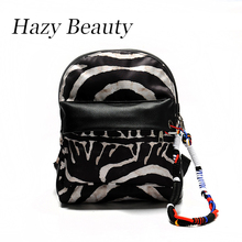 Hazy beauty New motorcycle women backpack super chic lady shoulder bag zebra design girls fashion travel or school bags DH830