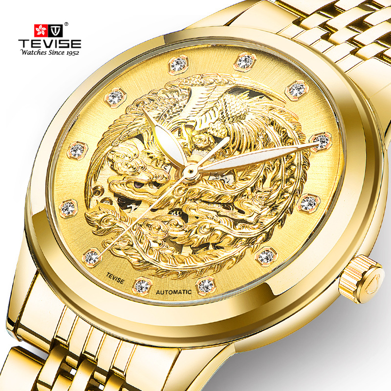 Relogio Feminino Ladies Automatic Skeleton Watches Gold phoenix Engraving Women Mechanical Watch Luxury Brand TEVISE Watches<br>