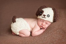 Free shipping,Cartoon baby Puppy hat beanie,Crochet dog Hat & diaper cover baby Set newborn Knitting Photography Prop(China)
