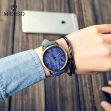 MEIBO Relojes Quartz Men Watches Casual Wooden Color Leather Strap Watch Wood Male Wristwatch Relogio Masculino watches women
