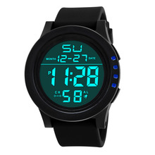 30M Waterproof Men's Boy Watch LCD Digital Stopwatch Date Silicone Rubber Strap Military Army Sport Wrist Watch with Backlight