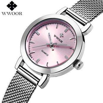 Mulheres marca De Luxo Relógios Senhoras Casuais Relógio De Quartzo Relógio Feminino Prata Pulseira de Aço Inoxidável Dress Watch relogio feminino
