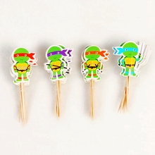 24pcs Cartoon Teenage Mutant Ninja Turtle Cupcake Toppers picks Wedding Child Birthday Party decoration Cake flag supplies New