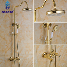 Fashion Top High Quality All Brass Gold Shower Sets Europe Style Deck-mounted Bathtub Shower Set Bathroom Shower Set Faucet Tap