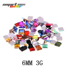Nail Rhinestone FlatBack Square 6mm 3g About 55pcs For Crafts Scrapbooking DIY Clothes Nail Art Decoration