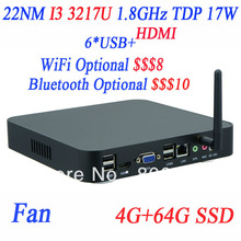 Latest Desktop Small PC Terminal I3 3217u 1.8Ghz with Intel NM70 Express Chipset 4G RAM 64G SSD with WiFi or Bluetooth Optional