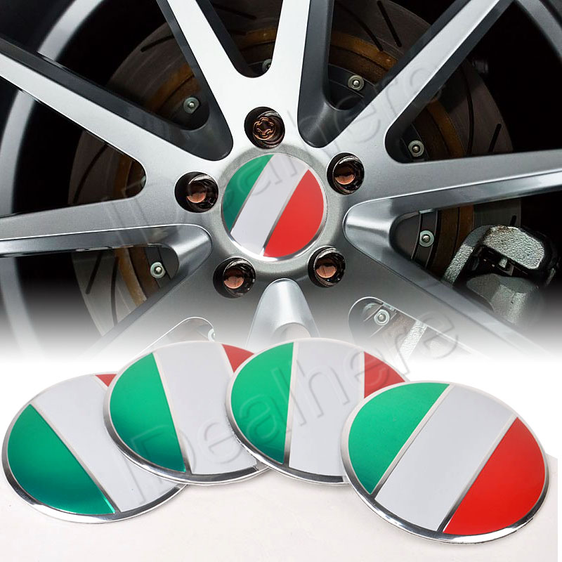 Mayitr 4Pcs 3D Car Motorcycle Italy Flag Stickers Universal Steering Wheel Center Hub Cap Emblem Badge VW Audi BMW