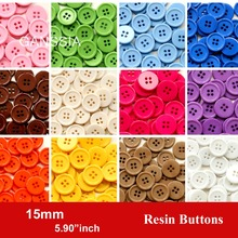 100pcs/lot Size:15mm Candy colors fashion resin buttons for craft 4 Holes bulk buttons for garments Sewing accessories(SS-674)