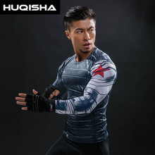 3D Winter Soldier Avengers 3 Compression Shirt Men Long Sleeve Fitness Crossfit T Shirts Male Clothing Tops Halloween Costumes(China)