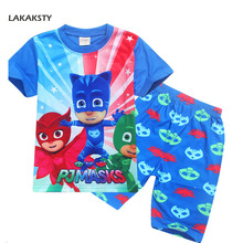 Children's Pajama Set Short Sleeve Pijamas Cartoon PJ MASKS Infantil Kids Boys Girls Sleepwear Summer Homewear Clothes Pyjamas