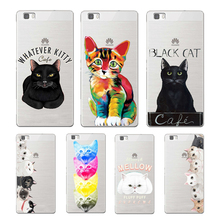 Lovely mellow cat soft TPU cover for huawei P8 P9 Lite NOVA MATE 8 9 honor 8 case for huawei p8 lite 2017 phone capa