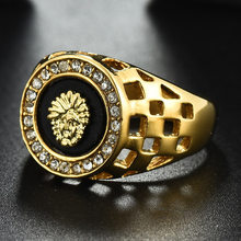 2019 New Fashion Lion Head Ring Man Women Hip hop Rose Gold Silvery Oil Painting Crystal Rings For Men Punk Animal Jewelry R114(China)