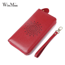 2017 Winmax Women New Genuine Leather Sunflower Zipper Hand Wallets Ladies Fashion Coin Purses Pocket Red Long Female Clutch Bag(China)