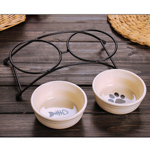 Double Ceramics Dog Cat Puppy Pet Bowl Print Fish and Paw Food Dish Non Slip Food Water Dual-use Feeding Dish Pet Supplies(China)