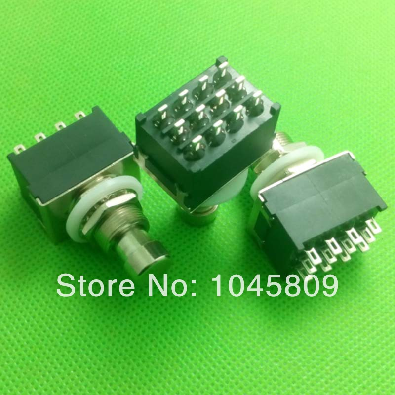 10PCS/LOT 4PDT Latching Switch  12-Pin Stomp Foot Pedal Switch True Bypass Black  Free Shipping<br>