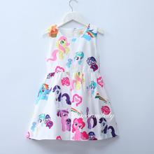 Girls My Pony Rainbow Printing Dress For Children's Wear Party Princess Dresses Baby Girl Clothing Dress Cotton