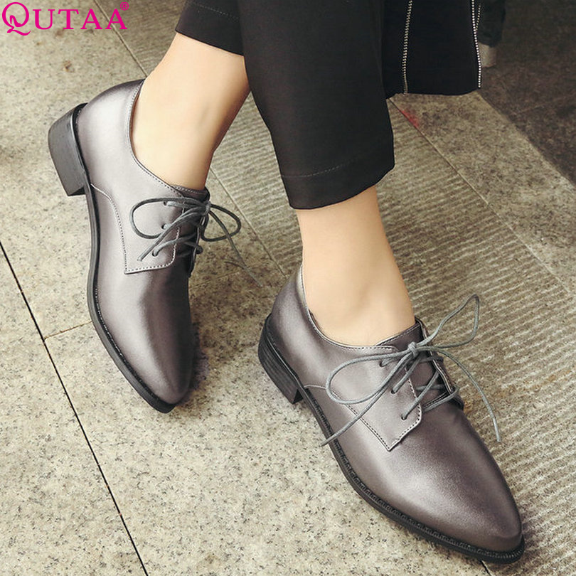 QUTAA Women Pumps Black Ladies Shoes Square Low Heel PU Leather Lace Up Pointed Toe Woman Wedding Shoes Size 34-43<br><br>Aliexpress