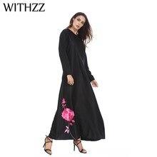 WITHZZ Women s Print Muslim Middle Eastern Arabian Positioning Flower Long  Dress Umbrella Loose Female Bandage Plus Size Dresses c4b6b3c9b80c