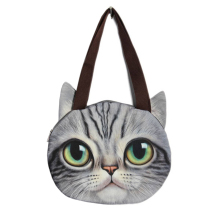 5pcs of Women Fashion Shoulder Bag Tote Face Pussy Cat Cute Shopping Handbags Dark Grey(China)