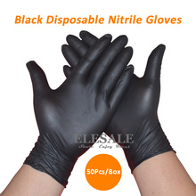 50Pcs/1ot Black Disposable Nitrile Gloves Powder Free Ambidextrous For Medical House Industrial Use Tattoo Gloves(Hong Kong)