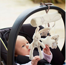 Brand baby Rattle Rabbit baby music hanging bed safety seat plush toy Hand Bell Multifunctional Plush Toy Stroller Mobiles Gifts(China)