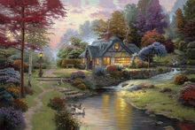 printed thomas kinkade landscape oil painting prints on canvas wall art picture for living room home decorations 40x50cm -4646(China)