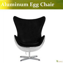 U-BEST VINTAGE ALUMINIUM AVIATOR EGG CHAIR,Vintage Furniture Classics- Leather lounge chair(China)