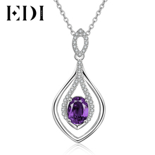 EDI Water Drop Natural Purple Amethyst Gemstone Pendant Necklace 925 Sterling Silver Wedding Chain for Women Jewelry Accessories(China)